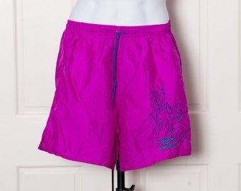 Vintage 80s 90s UMBRO Nylon Shorts - fuchsia - Medium