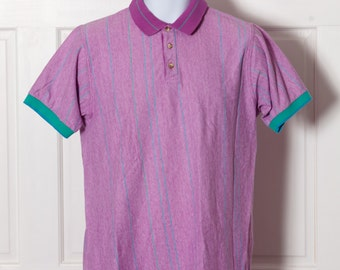 90s Men's Polo Shirt - colorful purple - COLOURS By Alexander Julian - L