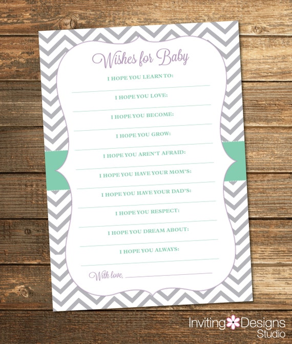 Chevron Baby Shower Wishes Card - Mint Lavender