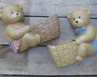 Burwood Bear Wall Pockets, Vintage Bear Wall Art, Nursery Room Decor, Wall Art, Vintage 1989, Boy & Girl Bear Pockets, Decor MyVintageTable