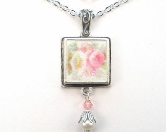 Broken China Jewelry Pink Rose & Morning Glory Flower Floral Pendant Vintage Charm Porcelain Jewelry by Charmedware