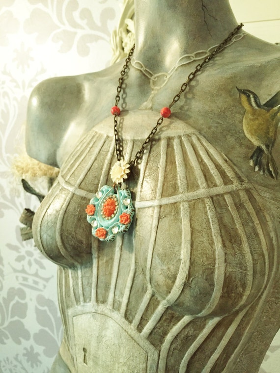 Shabby Chic Turquoise and Coral Necklace by Modifeye