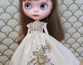 Vintage Yellow Embroidered Blythe Dress and Petticoat Set | Pullip Dress