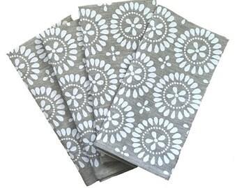 White Eyelet linen napkins (set of 4)