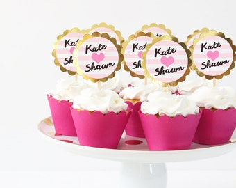 Bachelorette Party Cupcake Toppers Pink and Gold Metallic Party Supplies Heart Cupcake Toppers Bachelorette Bash Cake Topper Last Fling