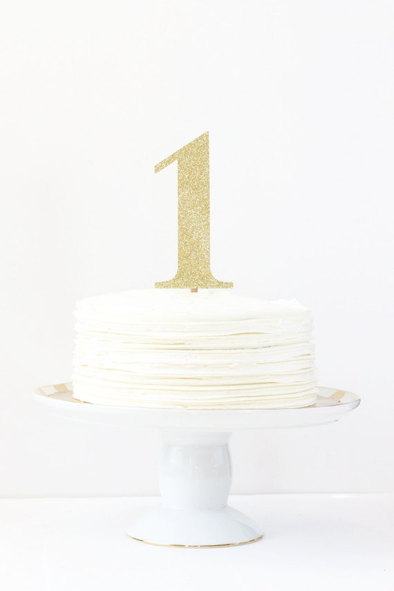Gold glitter number cake topper girls first birthday party for Number 5 decorations