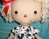 Primitive Raggedy Doll in Mickey Mouse Print Dress with Figurine Doll OOAK