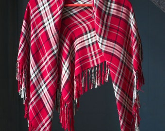 Red plaid shawl, vintage wrap red, square red white shawl 80s, women's winter fashion red, gift red shawl
