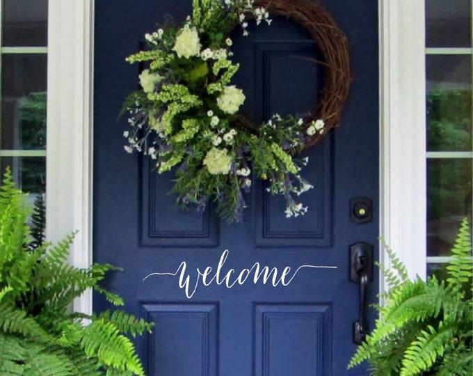 Welcome Door  Decal  // Farmhouse Welcome  //   Welcome Door vinyl //  Welcome Vinyl Lettering for Door //  Front Door Decals