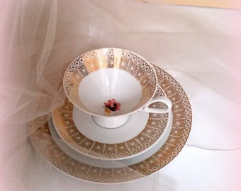 Vintage Tea Trio - Mid Century Mod - Gold Gilt Geometric Design - Pink Rose Accents - Teacup, Saucer & Dessert Plate, BAVARIA