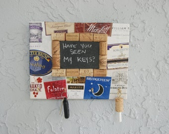 Wine Cork Key Holder and Chalkboard with Wine Labels