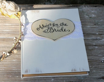 "Advice For The Bride Book, Wedding Guest Book, Bridal Shower Guest Book, Lace and Personalized Heart, Shabby Chic, Rustic Weddings, 5"" x 7"""