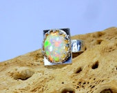 Large Fiery Welo Opal Sterling Silver Ring, multi-flash 14 x10mm,  October Birthstone, statement ring, distressed band, gift 4 her under 150
