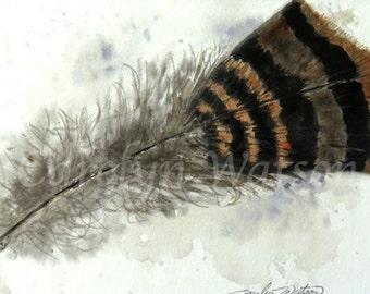 Feather Original Watercolor Painting 5x7