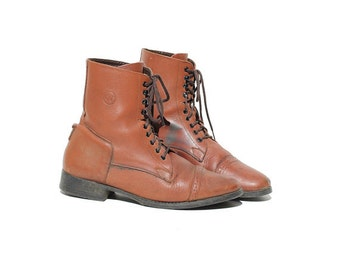 Tropical Nut Brown Leather Riding Ankle Boots / size 8