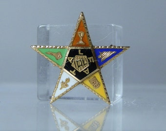 Vintage 14k Gold Eastern Star Masonic Pin Brooch Yellow Gold and Enamel Collectible Very Nice Condition & Fully Functional DanPickedMinerals