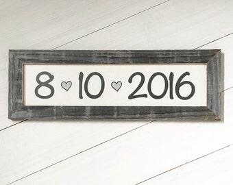"""22.5x7.5"""" Customizable Date Sign - Wedding Date Sign - Special Date Sign - Wedding Gift - Barnwood and Cotton Canvas -  Reclaimed Wood"""