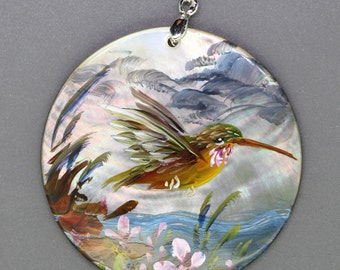 Hand Painted HummingBird Shell Pendant Necklace