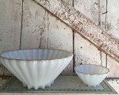 Scalloped milk glass bowl with gold edge with matching small bowl chip and dip bowl
