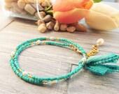 Double Wrap Bracelet - Adjustable Wrap Bracelet - Gypsy Wrap Bracelet - Stacking Bracelet - Boho Wrap Bracelet - Gift for Her