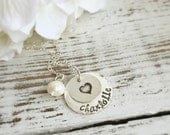 Personalized Necklaces . Name Necklace . Stamped Jewelry . Personalized Jewelry . Kids Necklace . Children Names . Family Necklace