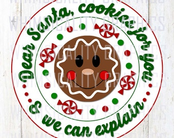 Digital File - Cookies For Santa Plate Design with svg, dxf, and png Commercial & Personal Use