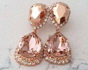 Rose gold Chandelier earrings,Rose gold morganite Bridal earrings,Blush rose gold earrings,Bridesmaids gift,Drop earrings,Blush earrings