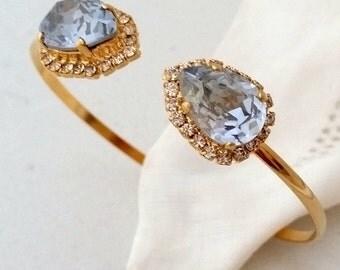 Blue bracelet,Dusty blue cuff bracelet,Blue bridal bracelet,Blue bridesmaid gift,Swarovski bracelet,Blue crystal bracelet,Blue shade bracele