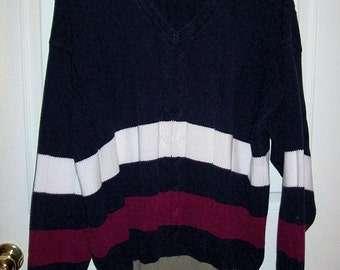 Vintage Mens Striped V Neck Golf Sweater by Izod Club Extra Large Only 6 USD
