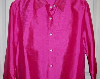 Vintage Ladies Hot Pink Silk Blouse by David Brooks Size 10 Only 10 USD