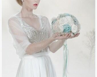 Wedding Shrug, Light Cover Up Bridal White Shawl With Tiny Dots.  Wedding 4 Ways Shawl- Shrug, Shawl, Crisscross And Infinity Scarf (TLD102)