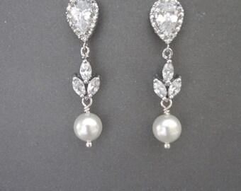 Swarovski pearl earrings ~ Brides earrings ~ Pearl drop earrings ~ Leaf design ~ Wedding earrings ~ Bridal jewelry ~ Cubic zirconias ~ LILLY