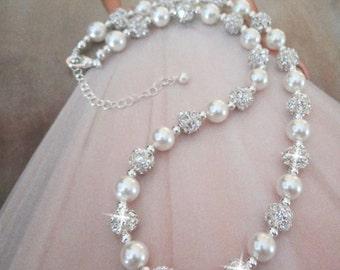 Pearl necklace ~ Wedding jewelry ~ Bridal jewelry ~ Crystal necklace ~ Wedding necklace, Swarovski pearl necklace, Brides necklace, RAE