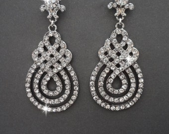 Crystal rhinestone statement earrings ~ Swirl design ~ Infinity ~ Bridal jewelry ~ Brides earrings ~ Long crystal earrings ~ Pageant ~ Prom