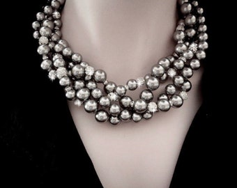 Chunky Gray pearl necklace ~ Crystal and pearl rhinestone necklace ~ Bridal jewelry ~ 4 strands ~ Twisted pearl necklace ~ Brides necklace ~