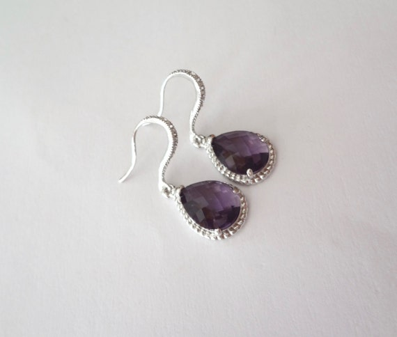 Amethyst Earrings - Czech glass - Sterling Silver ear wires - Elegant - Bridal Jewelry - February's birthstone - Bridesmaids - gift -