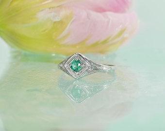 Dainty Emerald Ring, Emerald Birthstone Ring, May Birthstone Ring, Emerald Sterling Ring, Emerald Silver Ring, May Birthstone Jewelry