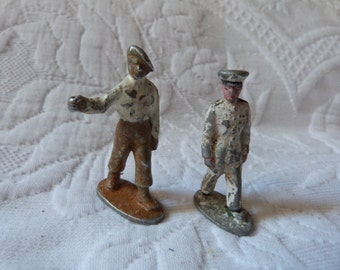 Antique French lead soldiers toy painted metal soldiers lead military toy officer and marine soldier vintage toys world war 2 toy collection