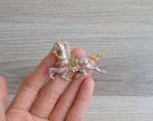 "20% Code ""JINGLE20"" - Vintage 80's 'Sparkles' Silver Glitter Horse Brooch Pin"