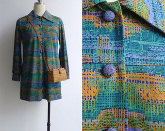 Vintage 70's 'Basket Weave' Abstract Print Tunic Mini Dress S or M