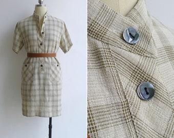 Vintage 80's Cream Grandad Collar Checkered Pocket Shift Dress S