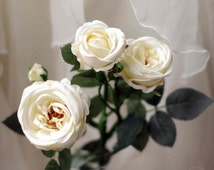 Artificial Silk Garden Rose - vanilla cream. Home decor, DIY weddings, bouquets, table centerpieces.  Single stem with 3 flowers and bud.