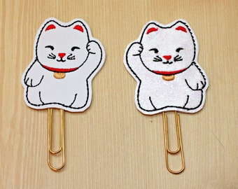 Lucky kitty planner paperclip, Choice of Lucky kitty vinyl paperclip, MANEKI NEKO paperclip, Lucky cat paperclip, planner accesorries