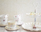 Collection of Vintage Mismatched English Tea Cups and Saucers with Tiered Serving Tray Shabby Cottage Tea Party