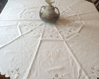 """Monogrammed Embroidered Tablecloth  54"""" Round Centerpiece Vintage Eyelet White Work Embroidery Linen Tea Cloth Initials ETK"""