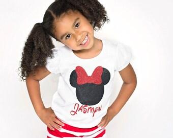 Glitter Minnie Mouse Girl Shirt, Custom Personalized Minnie Mouse Shirt Tshirt Tee Girls and Baby Girls 12m to 6