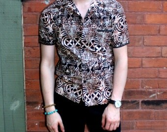 vintage Jantzen Shirt Mens Batik Hawaiian style short sleeve Brown Cotton Button Up 1980s does 50s Surf Beachwear