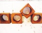 Four napkin rings square Danish Modern mod wooden teak vintage minimalist fine dining table