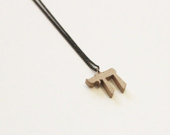 Large Hebrew Chai Necklace, 3d-Printed Steel