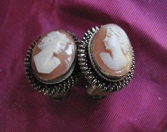 Vintage Shell Cameo Clip On  Earrings Designed in Silver  8 grams 800 Very Old